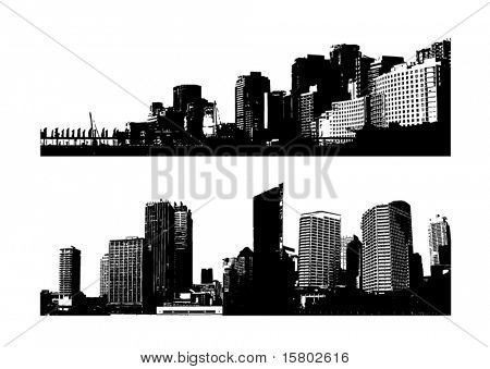 Silhouette of city. Vector art.