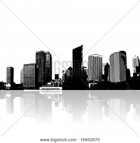 Ciudad y el mar. Arte de vector.