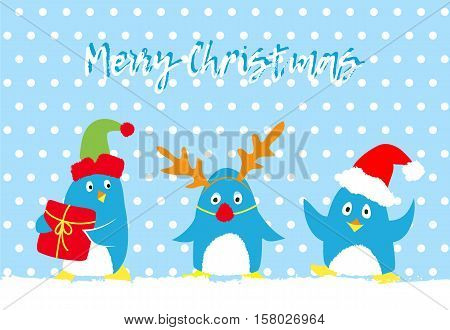 Merry christmas vector card with cute penguins, Group of penguin in Elf, Santa and Deer costumes