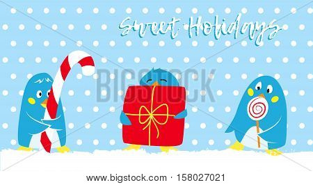 Winter holidays vector card with cute penguins, Group of penguin in with sweet gifts