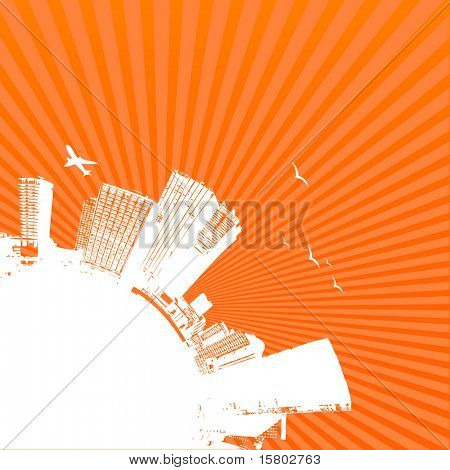 Silhouette of city with sunrise on orange background. Vector art.