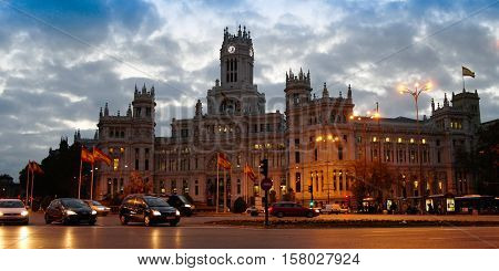 Morning Cityscape of builging and square in Madrid Spain