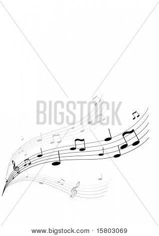 Música vuela sobre fondo blanco. Arte de vector.
