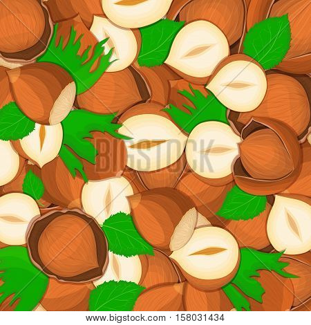 The hazelnut nut background Closely spaced delicious hazelnut vector illustration Nuts pattern walnut fruit in the shell whole shelled leaves appetizing looking for packaging design of healthy food