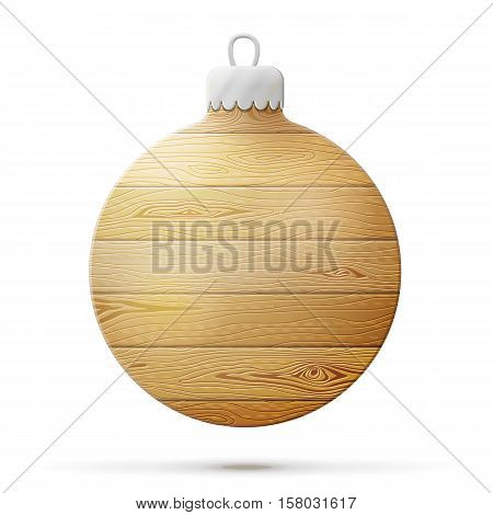 Holiday bauble of wood isolated on white. Wooden planks in shape of christmas tree ball. Vector illustration for christmas new years day woodworking winter holiday decoration silvester etc