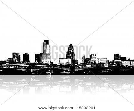 City on the riverside. Vector art