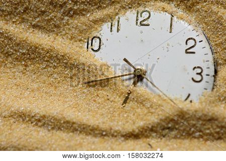 Old Clock Face In Sand