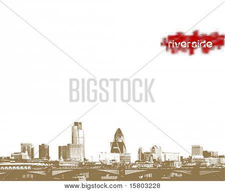 Panorama de la ciudad a orilla del río. Arte de vector.