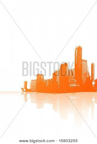 Panorama of orange city with reflection. Vector art.