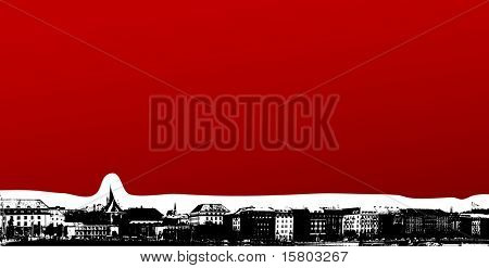 Panorama of a city by the river. Vector art