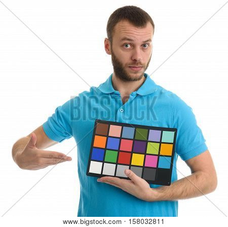 Bearded Guy Holds A Color And Grayscale Control Table