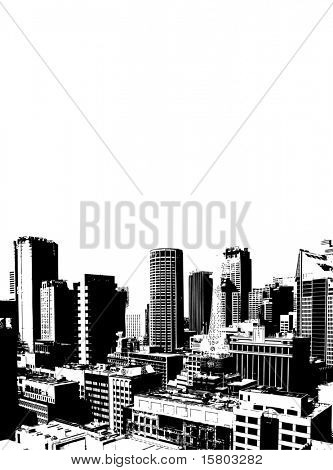 Skyscrapers on white background. Vector art