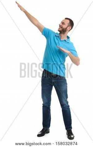 Full Length Portrait Of Cheerful Bearded Man