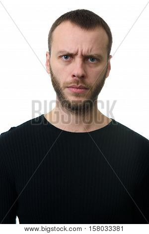Portrait Of A Angry Bearded Guy.
