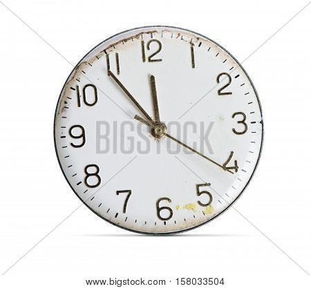 Grunge Old Clock Face With Numbers Isolated