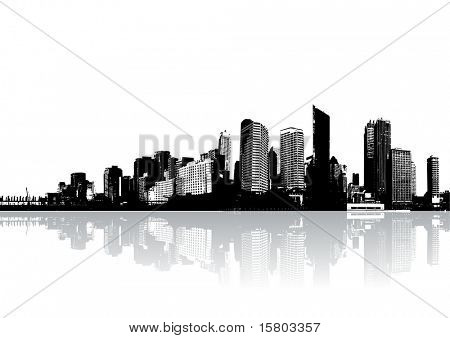 Skyscrapers reflected on water. Vector art.
