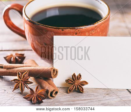 Good Morning Concept. A Cup Of Coffee And Spices