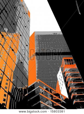 Skyscrapers with orange parts. Vector art