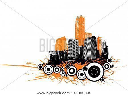 Wolkenkratzer mit Kreisen und orange Splash. Vektor