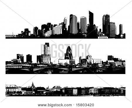 Schwarz und weiß Panorama Städte. Vektorgrafiken