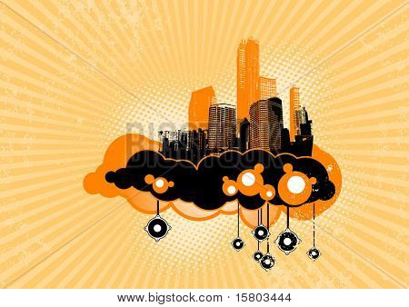 Flying city with speakers. Vector art