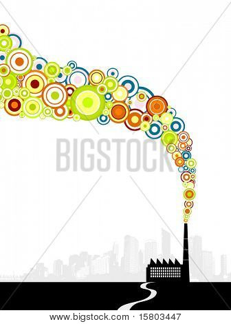 Factory with colorful circle smoke. Vector art