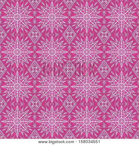 Pink christmas background with seamless pattern. Ideal for printing onto fabric and paper or scrap booking. Vector illustration