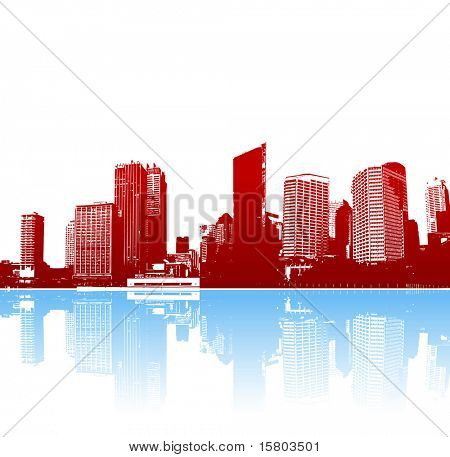 Funky panorama of city with reflection. Vector art.