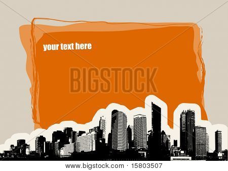 City with place for text on light brown background. Vector