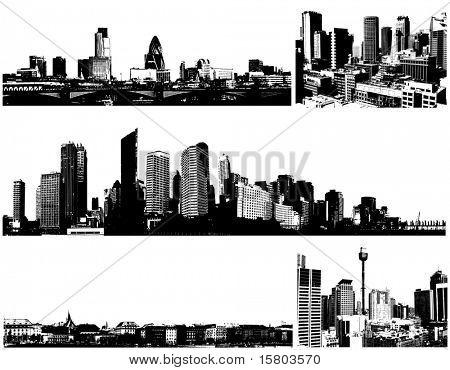 Cidades de panorama de preto e branco. Arte vetorial
