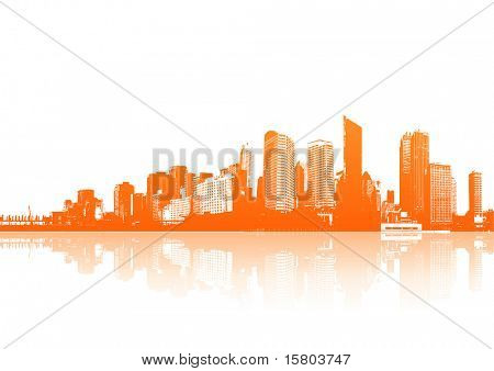 Orange skyscrapers with white background. Vector