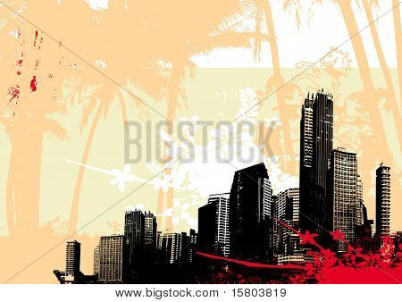 Illustration with city and red splash. Vector