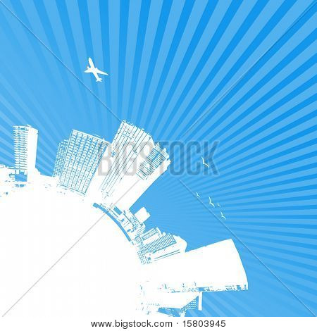 Silhouette of city with sunrise on blue background. Vector art.