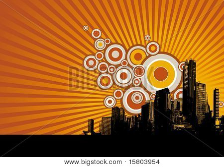 Skyscrapers with circles. Vector