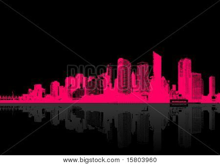 Cityscape on black background. Vector