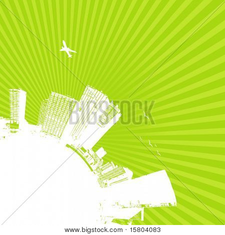 Silhouette of city with sunrise on green background. Vector art.