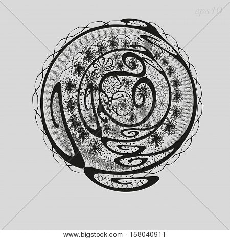 Abstract a flower bed of graphics Picture ornament author design decoration henna painting on the body skin logo circle curl flower petal point openwork pattern black eps10 Stock vector illustration