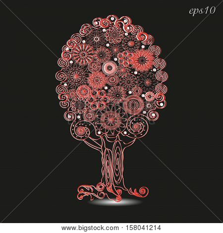 The lace tree ornament By design handmade red openwork plant roots trunk krone flowers ornament pattern shadow logo embroidery eps10 vector stock illustration