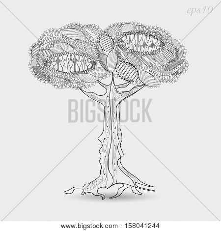 Openwork tree graphics Drawing abstract design author krone leaf nature plant stem bark and roots of the line pattern picture shadow handmade decoration body henna tattoo stock vector illustration eps10