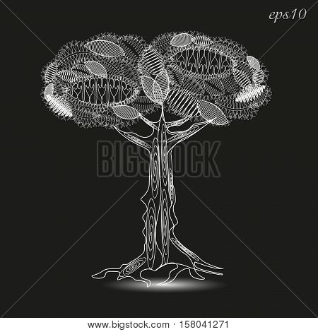 Openwork tree white graphics Abstract design author krone leaf nature plant stem bark and roots of the line pattern picture shadow handmade decoration body henna tattoo stock vector illustration eps10