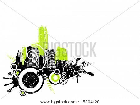 Grunge city in the corner. Vector art