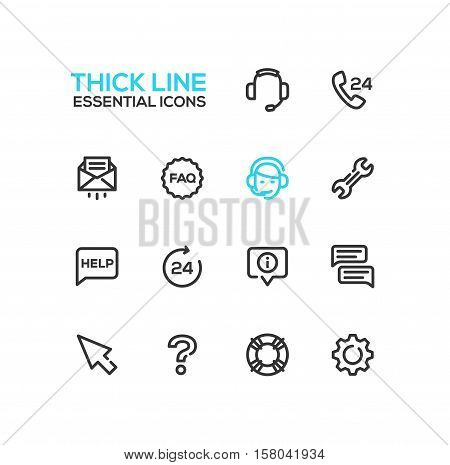 Help Center - modern vector plain simple thick line design icons and pictograms set. Headset, phone, twenty four-seven, mail, faq, support, wrench, information, chat, pointer arrow, question mark, lifebuoy cog