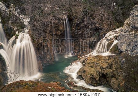 The rushing water in  Plitvice Lakes National Park Croatia