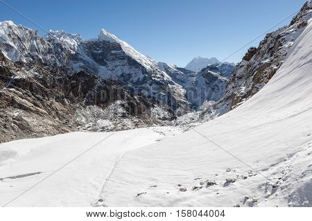 Beautiful Mountain Landscape On The Three Passes Trek In Himalayas, Nepal. Highlands Scenery Of The