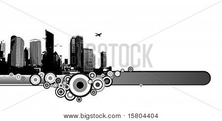 City with circles and place for text. Vector