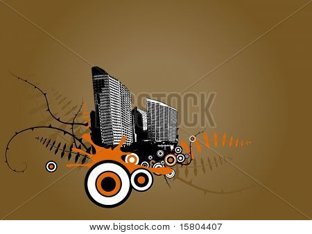 Floating city with plants. Vector art