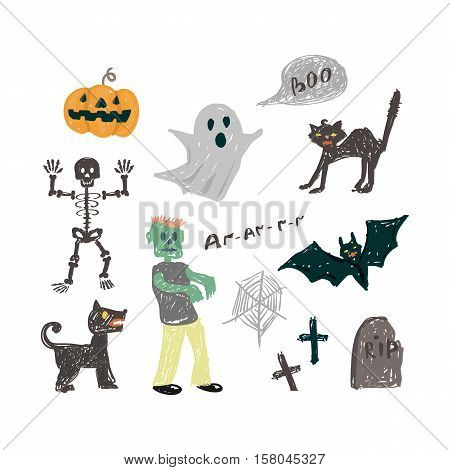 Halloween icon set illustration.Vector halloween design element in doodle style hand draw.Halloween in children style isolated on a white background