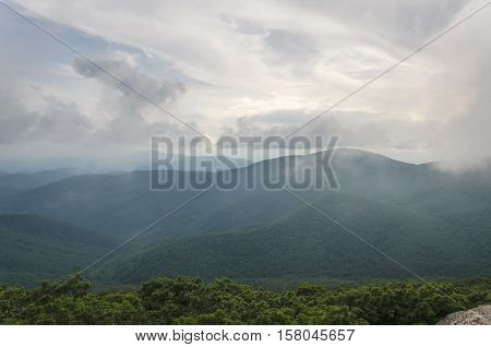 Blue ridge Shenandoah mountains covered in foggy mist