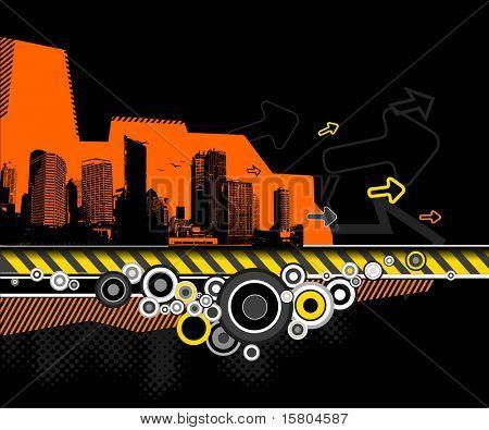 Abbildung der Stadt mit Wolkenkratzern. Vektor