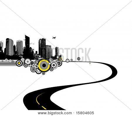 Camino a la ciudad. Vector art